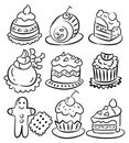 Hand draw cartoon cake icon Royalty Free Stock Photos