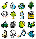Hand draw cartoon eco icons Stock Photo