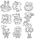 Hand draw cartoon summer animal icon Royalty Free Stock Image