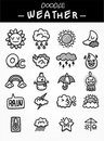 Hand draw cartoon weather icons set Stock Photos