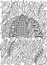 Hand draw doodle coloring page for adult. I love Autumn Rain. Fashion Umbrella Style.
