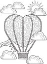 Hand draw doodle coloring page for adult. Journey in a balloon.