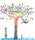 Hand draw egg tree tree growing colorful eggs also bunny rabbit play around Stock Photo
