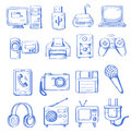 Hand draw electronic vector icon set on white Royalty Free Stock Image