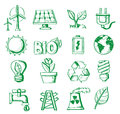 Hand draw energy vector icon set on white Royalty Free Stock Images