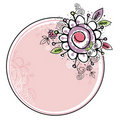 Hand draw flowers combine with circle frame Stock Images