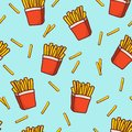 Doodle french fries seamless pattern background.