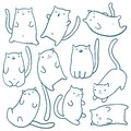 Hand draw funny cats