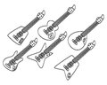 Hand draw guitar set Royalty Free Stock Photo