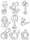 Hand draw home appliances cartoon icon Stock Photography