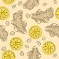 Hand draw ingredient for warming tea. Whole and sliced ginger roots with lemon. Vector seamless pattern