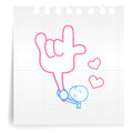 Hand draw love you cartoon on paper note Royalty Free Stock Photos