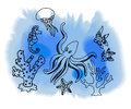 Hand draw marina creatures different drawn background vector illustrations Stock Photography