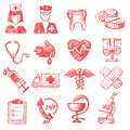 Hand draw medical vector icons set on white Royalty Free Stock Photos