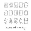 Hand draw money icons. Collection of linear signs of dollars and cents. Royalty Free Stock Photo