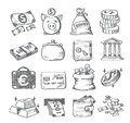 Hand draw money vector icon set on white Royalty Free Stock Photography