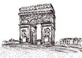 Hand draw paris de arc triomphe Royalty Free Stock Photo