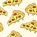 Hand draw pizza. Doodle pizza seamless pattern background. Fast food seamless pattern