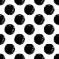 Hand Draw Polka Dots Seamless Pattern. Vector Black ink Brush. The texture of the pencil.