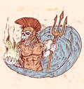Hand draw poseidon death color Stock Photos