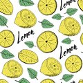 Hand draw seamless pattern of lemons with leaves. Vector illustration