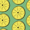 stock image of  Hand draw seamless pattern of lemons with leaves. Vector illustration