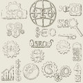 Hand draw seo icons vector set and symbols Stock Images