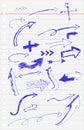 Hand draw sketch, Blue Pen Arrow