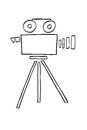 Hand Draw sketch of Video Camera, isolated on white Royalty Free Stock Photo
