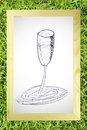 Hand draw sketch of wine glass Stock Photo