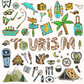 Hand draw Travel icons set. Summer holiday - camping and sea vacation. Journey doodle sketch elements in vector Royalty Free Stock Photo