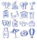 Hand draw travel vector icon set on white Royalty Free Stock Images