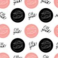 Hand draw vector illustration on white background. pink color. American hamburger, Cheeseburger. Lettering. Seamless pattern