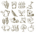 Hand draw village vector icon set on white Royalty Free Stock Photo