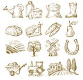 Hand draw village vector icon set on white Royalty Free Stock Images