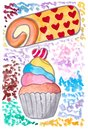 Hand draw watercolor of cupcake and roll cake illustration