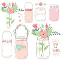 Hand Draw Wedding flower Mason Jar Royalty Free Stock Photo