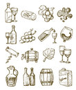 Hand draw wine vector icons set on white Royalty Free Stock Photos