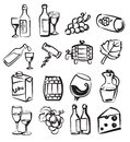 Hand draw wine vector icons set on white Royalty Free Stock Image