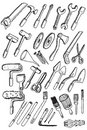 Hand draw working tools icon collection Stock Images