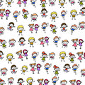 Hand drawing abstract cartoon happy kids background character people Stock Image