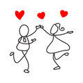 Hand drawing abstract people couple in love and wedding concept