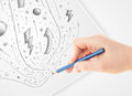 Hand drawing abstract sketches and doodles on paper Royalty Free Stock Images