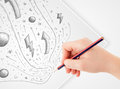 Hand drawing abstract sketches and doodles on paper a plain white Royalty Free Stock Photography
