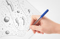Hand drawing abstract sketches and doodles on paper a plain white Stock Photo