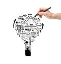 Hand drawing air balloon with businessman Royalty Free Stock Photo