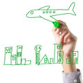 Hand drawing airplanes and the city concept of travel Stock Photo