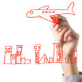 Hand drawing airplanes and the city concept of travel Stock Photos