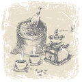 Hand drawing bag of coffee, vintage coffee grinder and two cups of coffee on the table, grunge frame, monochrome. ilustration Royalty Free Stock Photo