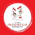 Hand drawing boy and girl holding flag. Independence day of Indonesia.